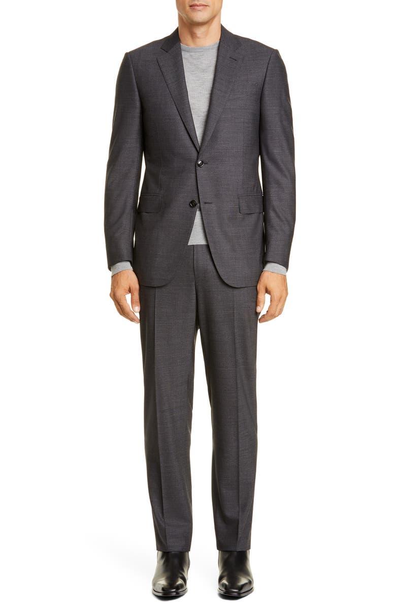 ERMENEGILDO ZEGNA Milano Trecapi Classic Fit Solid Wool Suit, Main, color, CHARCOAL