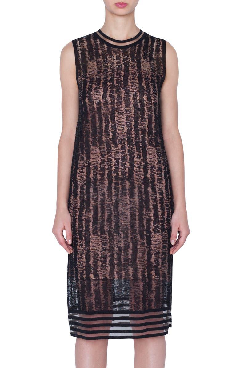 AKRIS Scribble Jacquard Linen Blend Dress, Main, color, 001