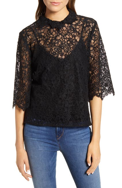 Image of 7 For All Mankind Lace Scallop Collar Top