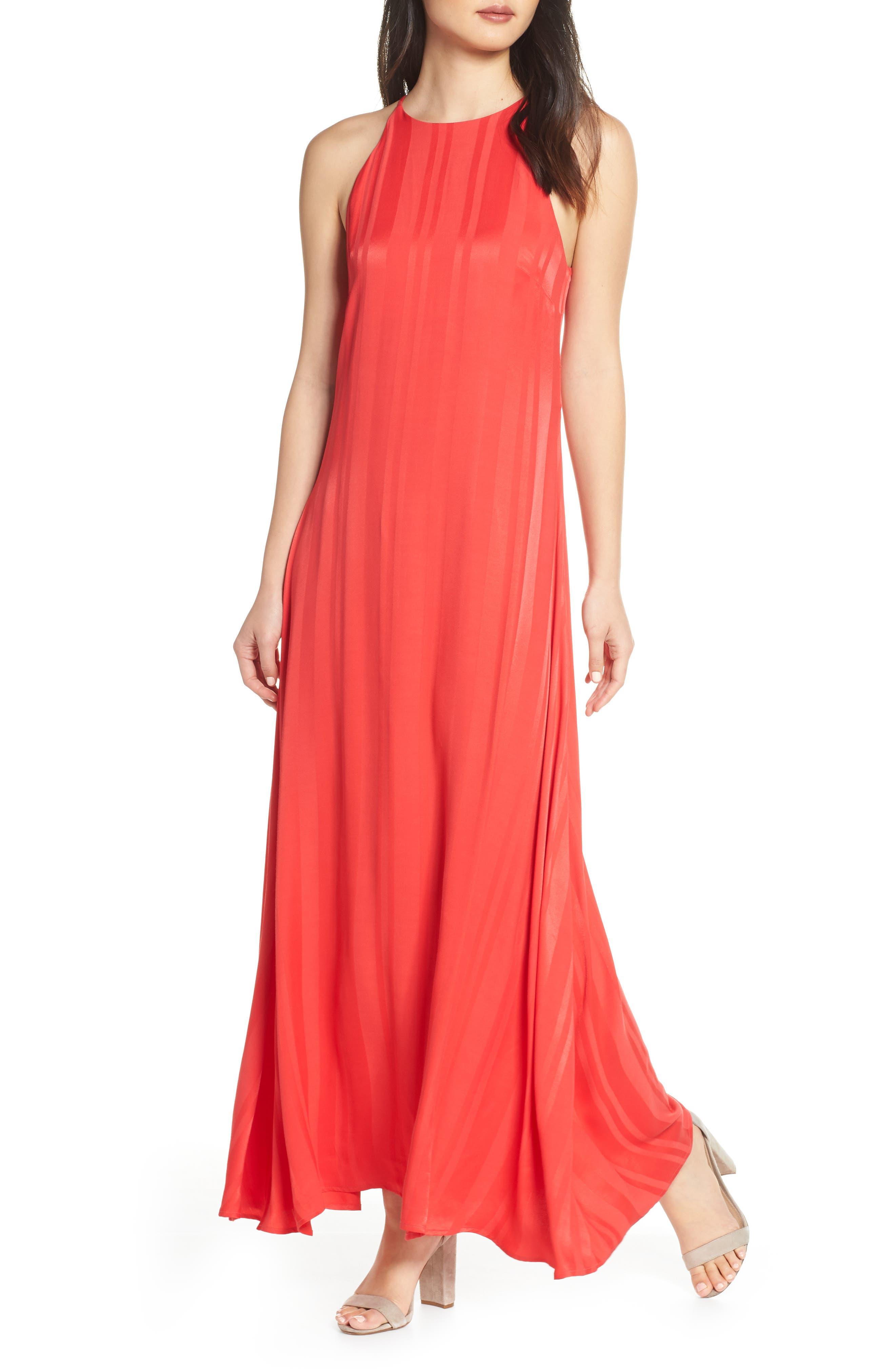 Nsr Paola Halter Maxi Dress, Red