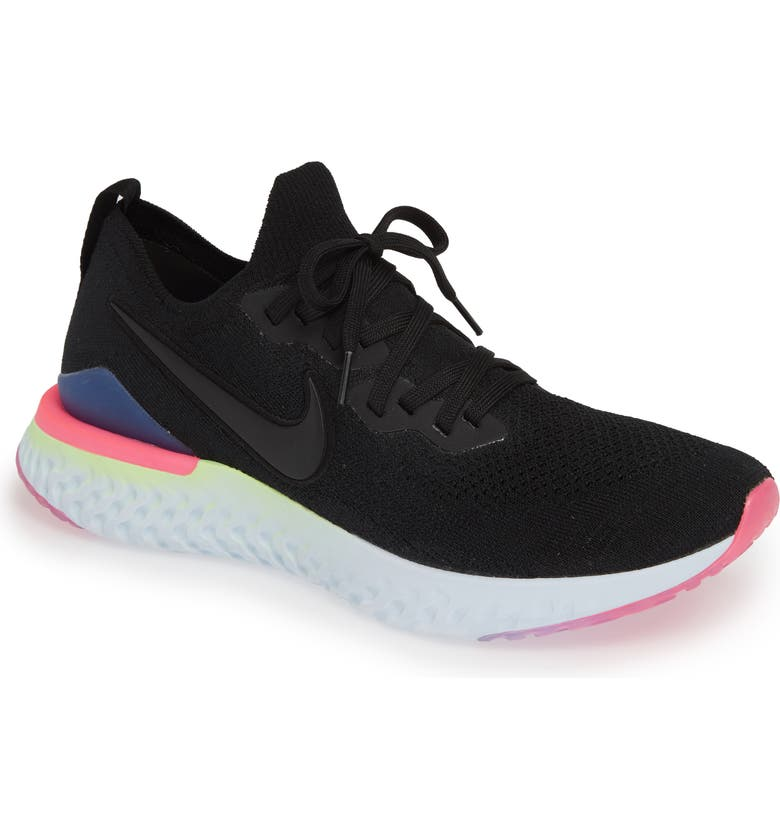 NIKE Epic React Flyknit 2 Running Shoe, Main, color, BLACK/ SAPPHIRE/ LIME BLAST