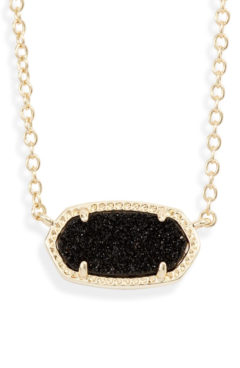 KENDRA SCOTT Elisa Pendant Necklace, Main, color, GOLD/ BLACK DRUSY