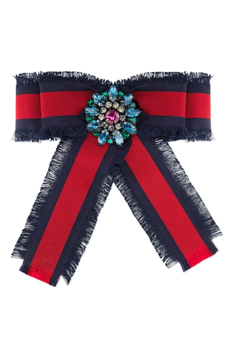 GUCCI Web Grosgrain Bow Brooch, Main, color, BLUE/ RED