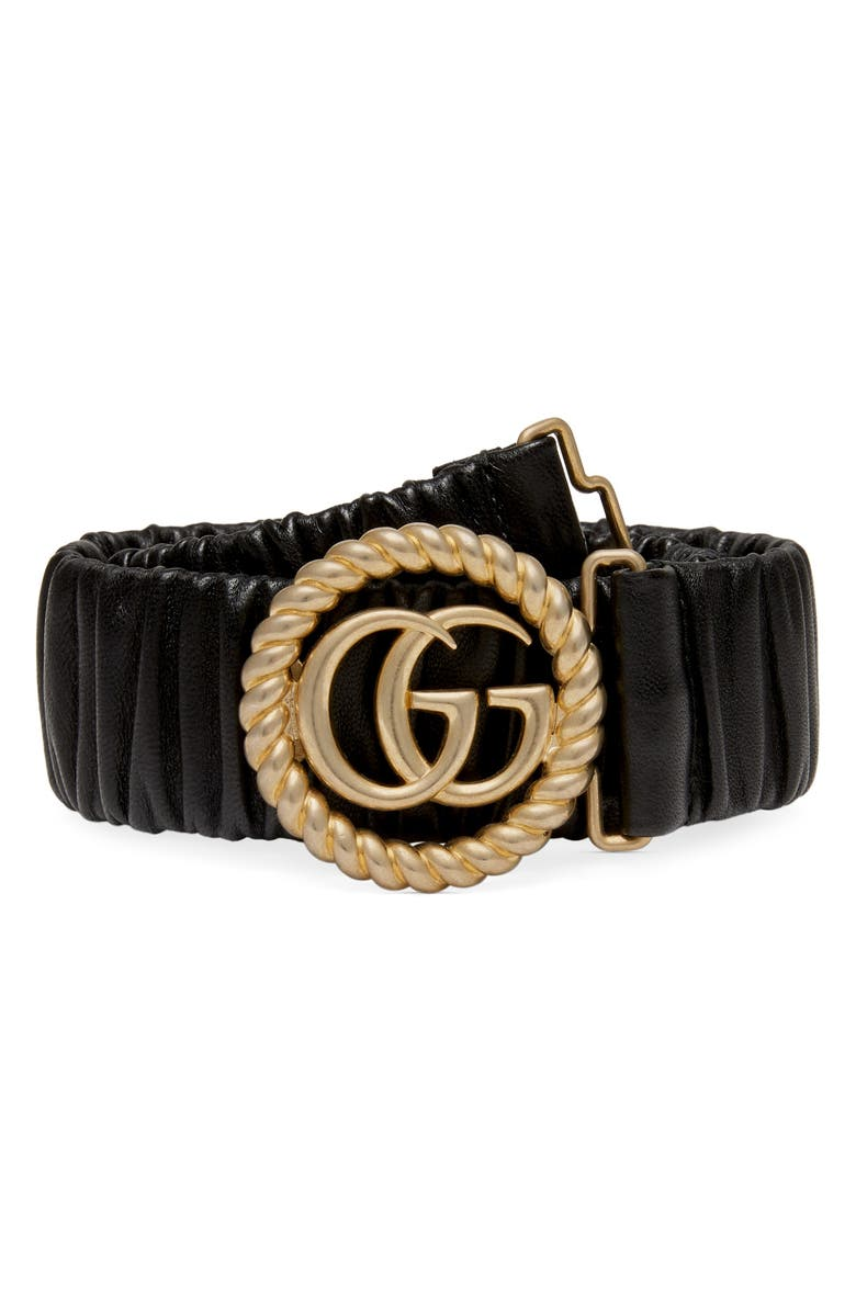 gg-marmont-elastic-leather-belt by gucci