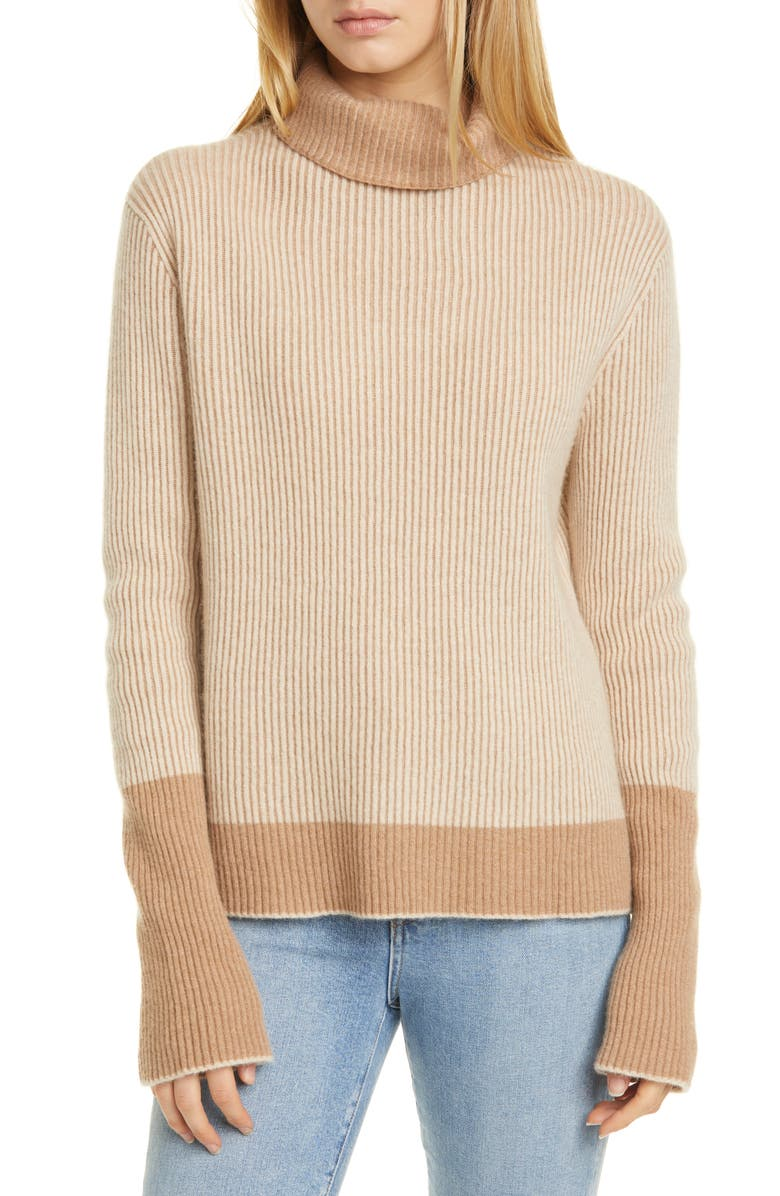 LA LIGNE AAA Turtleneck Cashmere Sweater, Main, color, CAMEL/ OATMEAL