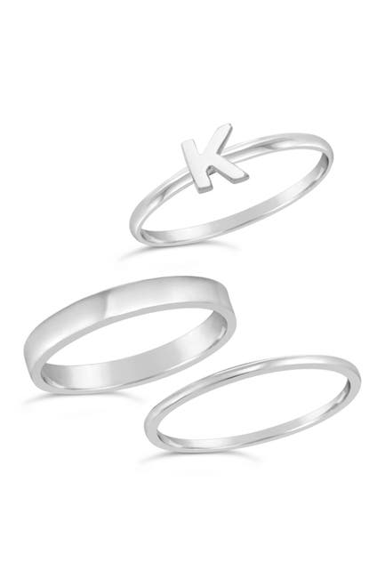 Image of Sterling Forever Sterling Silver Initial Ring - Set of 3 - K