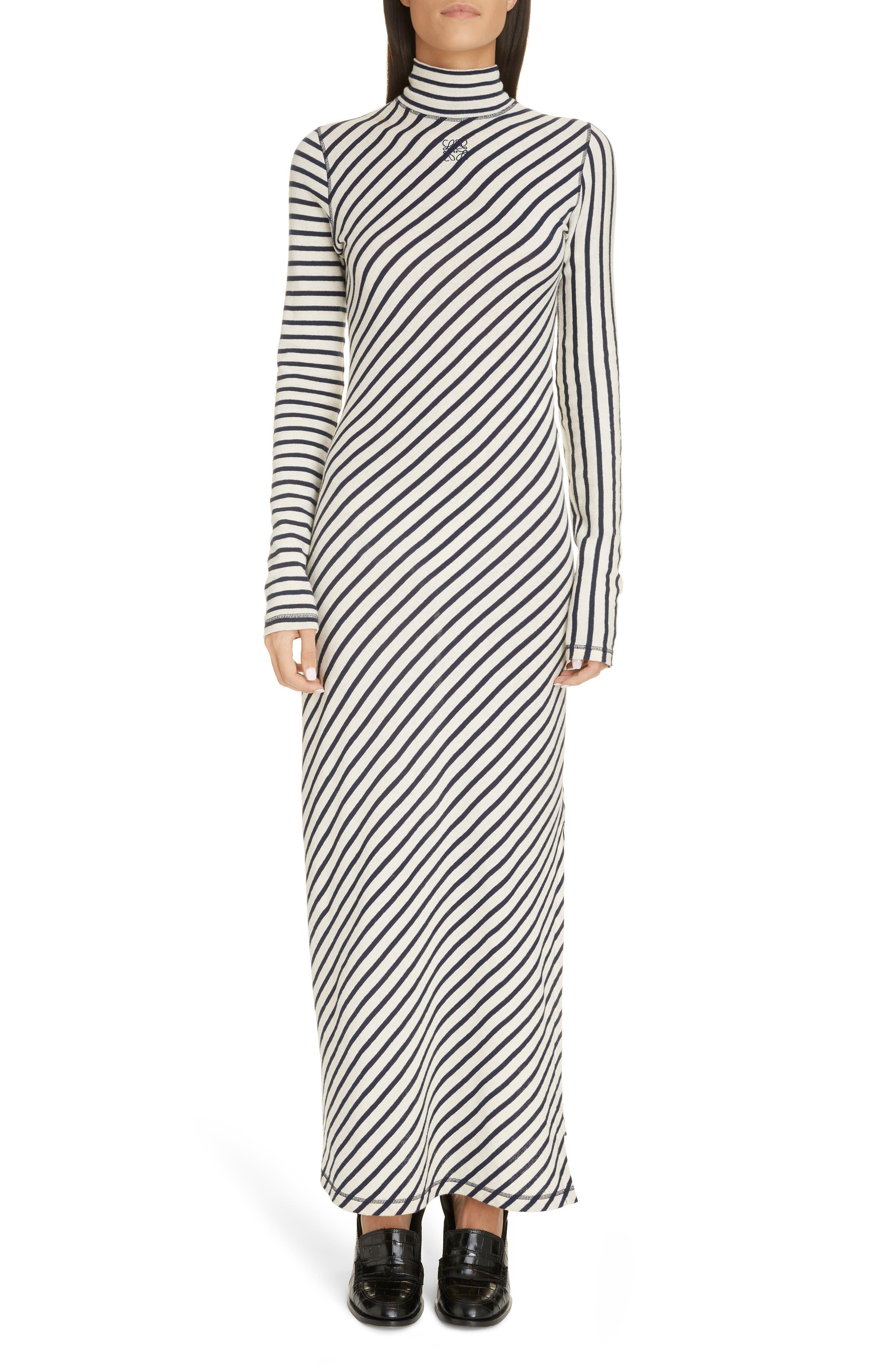 Loewe Dresses Stripe Long Sleeve Cotton Jersey Maxi Dress