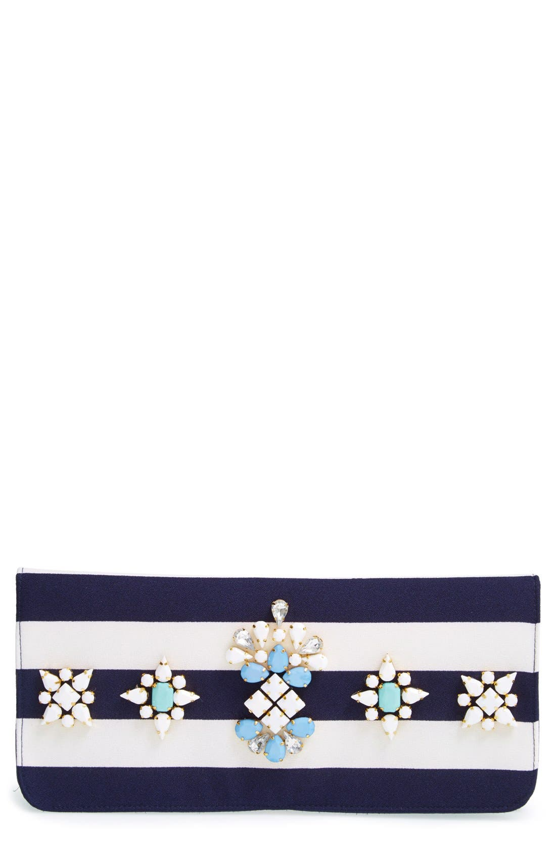 'Berenice' Embellished Stripe Clutch, Main, color, 400