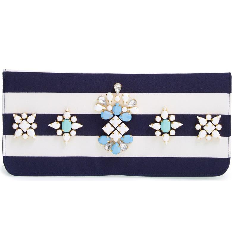 SHIRALEAH 'Berenice' Embellished Stripe Clutch, Main, color, 400