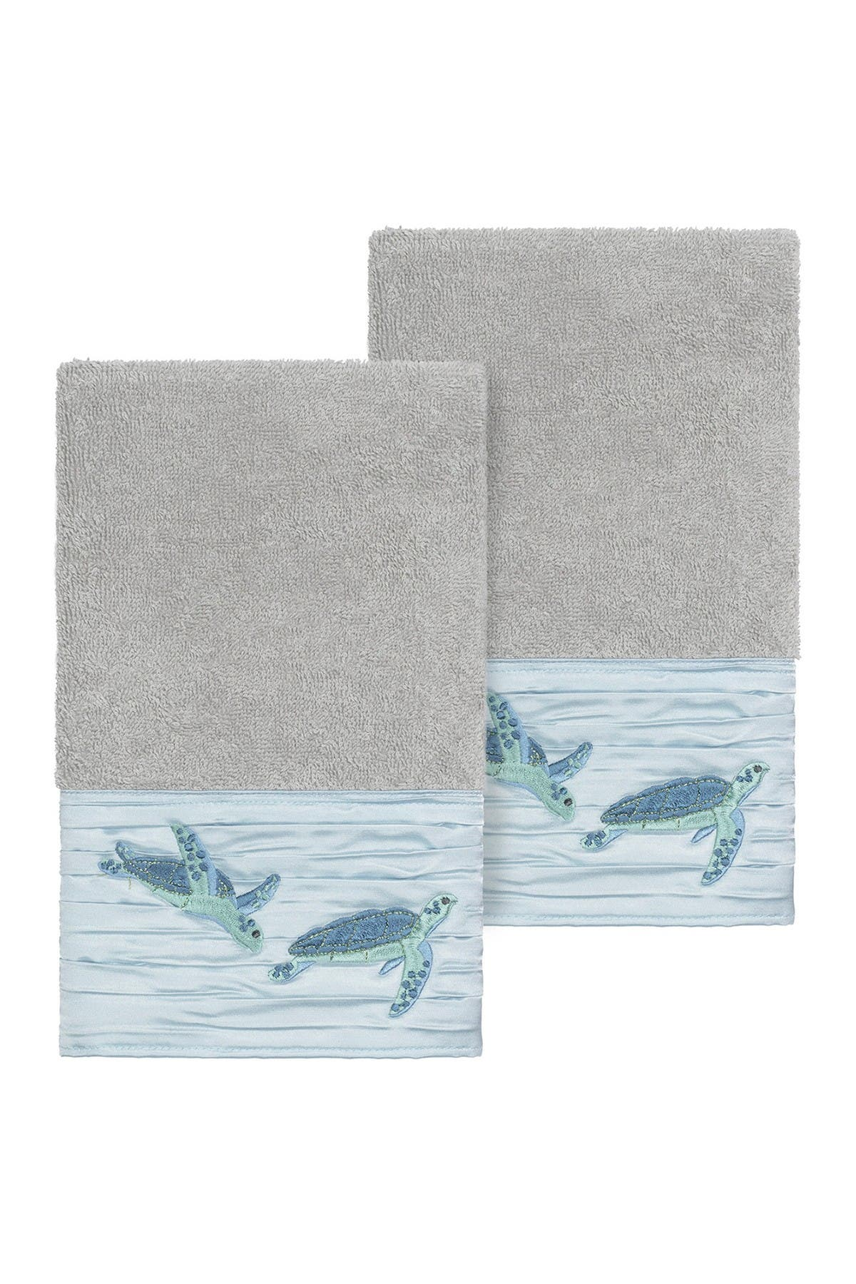 Image of LINUM HOME Mia Embellished Hand Towel - Set of 2 - Light Grey