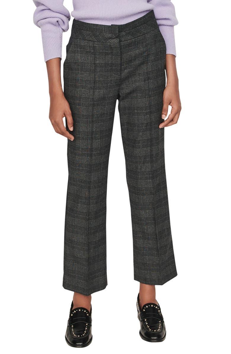 MAJE Panda Glen Plaid Trousers, Main, color, GREY