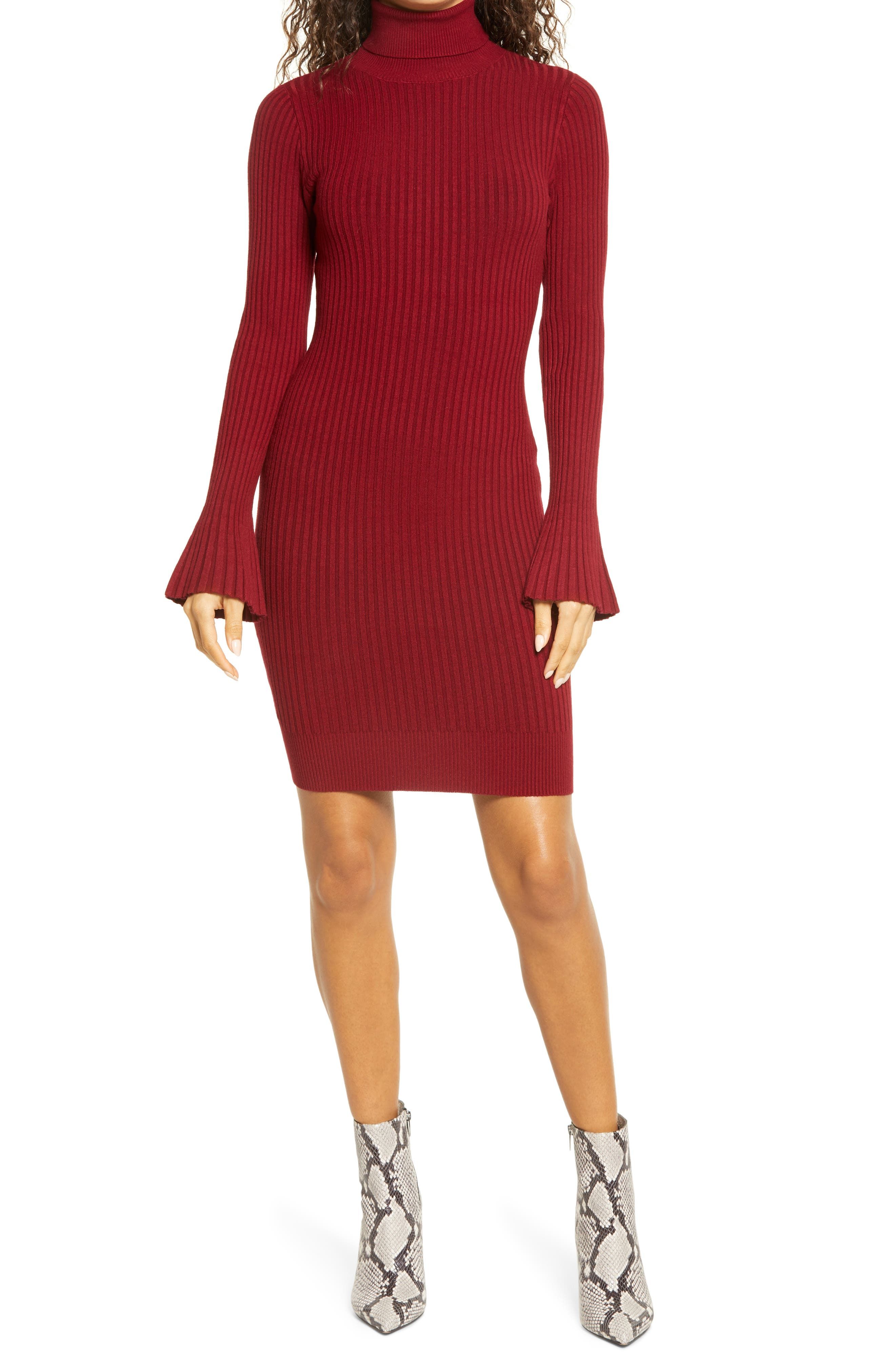 Turtleneck Long Sleeve Sweater Dress