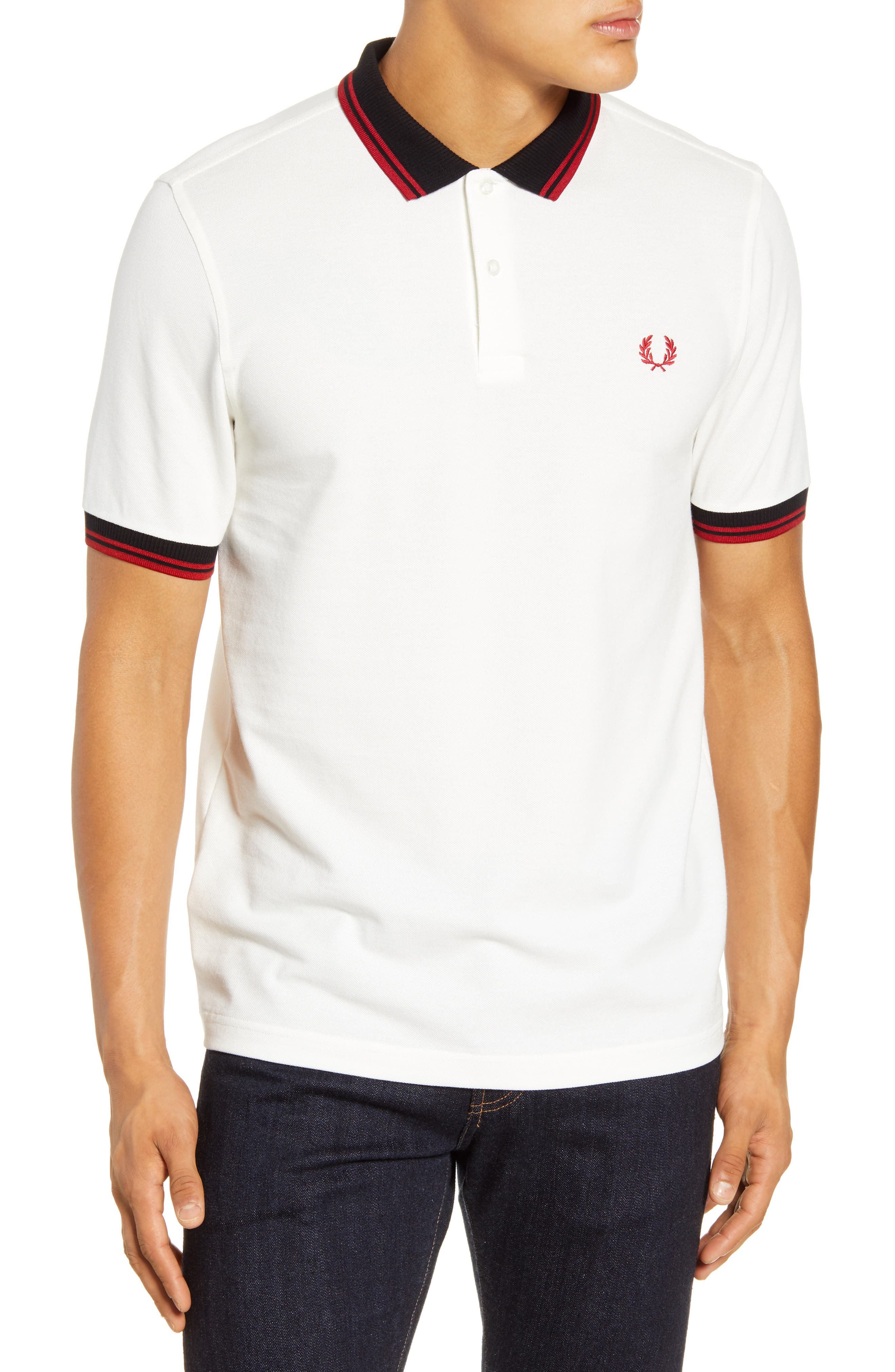 FRED PERRY POLO SHIRT BIANCA TIPPED M79 PIQUET SNOW WHITE MODERNIST STORE