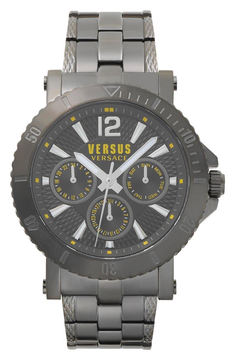 VERSUS VERSACE VERSUS by Versace Steenberg Multifunction Bracelet Watch, 45mm, Main, color, GUNMETAL