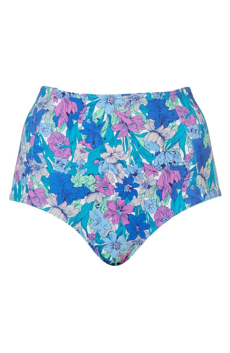 TOPSHOP Floral High Waist Bikini Bottoms, Main, color, 400