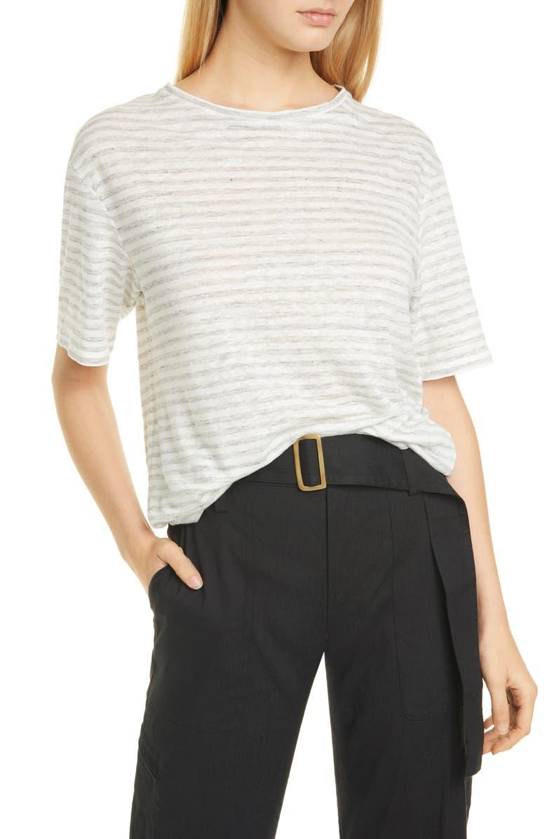 VINCE Classic Stripe Linen Boyfriend Tee, Main, color, OPTIC WHITE/ H GREY