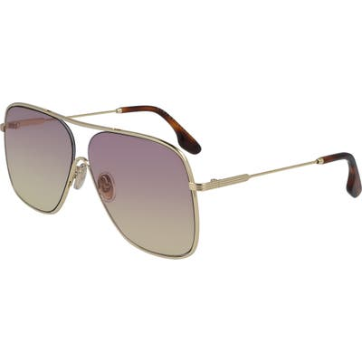Victoria Beckham Loop Oversize Navigator Sunglasses - Gold/ Pink Yellow
