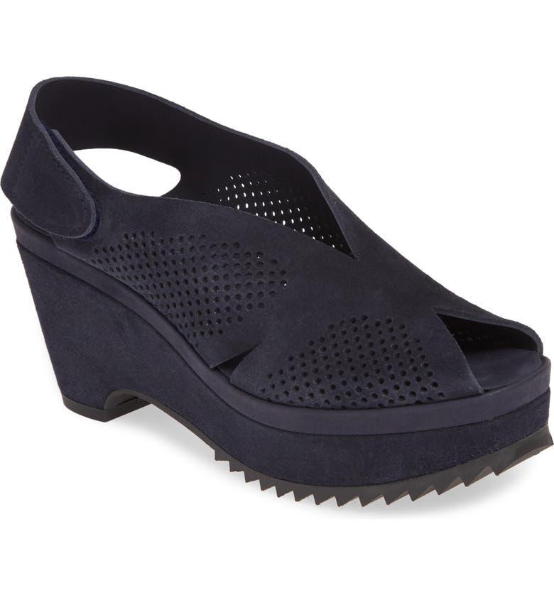 PEDRO GARCIA Floreal Perforated Slingback Platform Sandal, Main, color, NAVY CASTORO