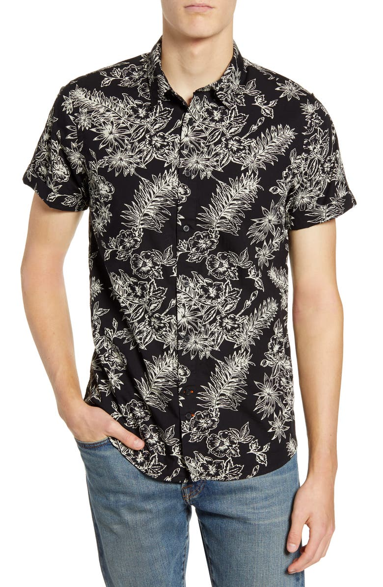 SCOTCH & SODA Slim Fit Floral Short Sleeve Button-Up Shirt, Main, color, COMBO A
