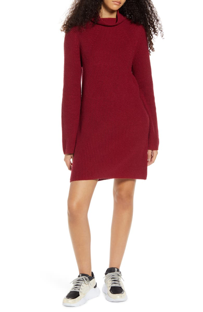 BP. Mock Neck Long Sleeve Sweater Dress, Main, color, RED RUMBA