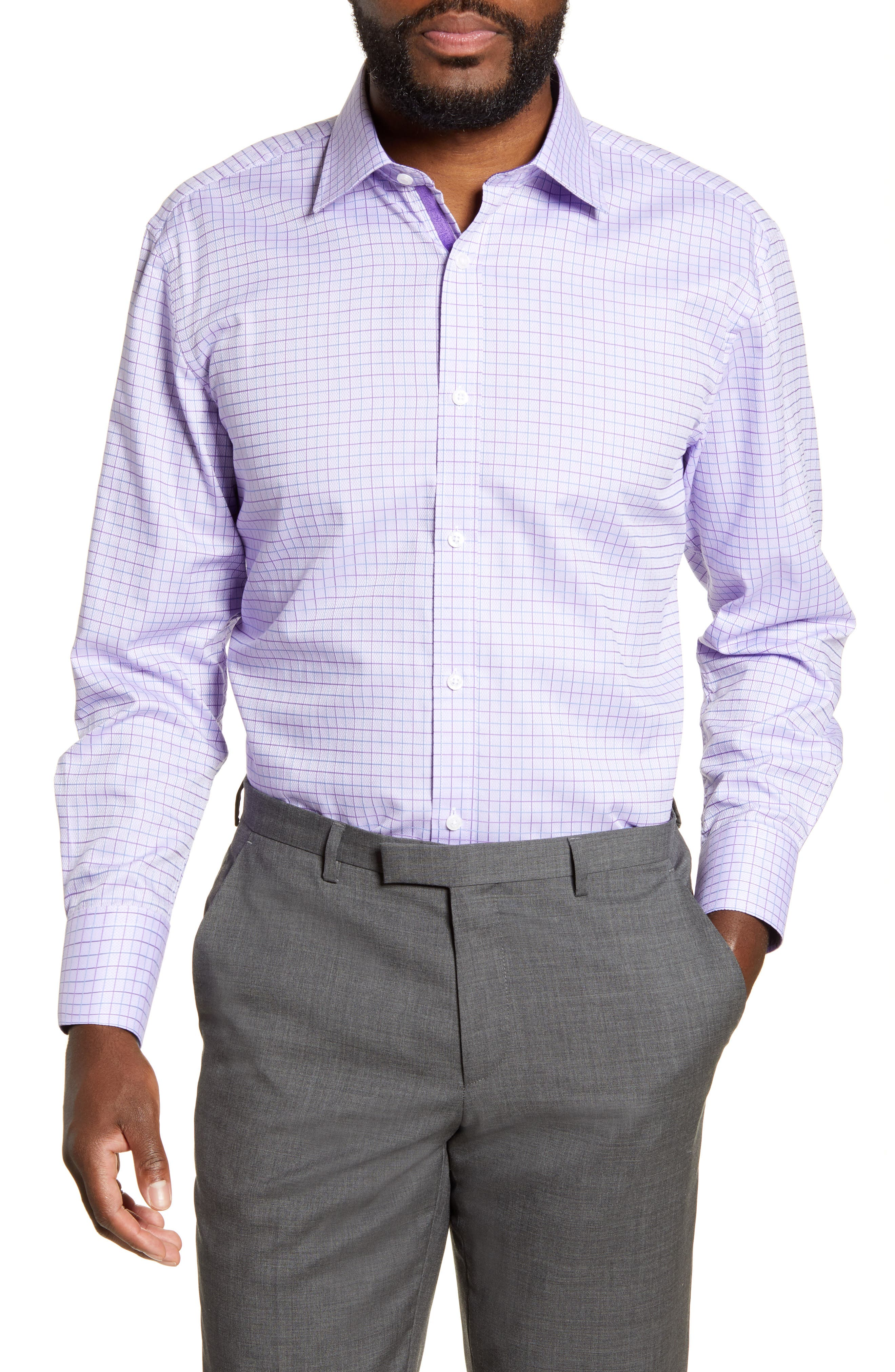 Trim Fit Windowpane Dress Shirt