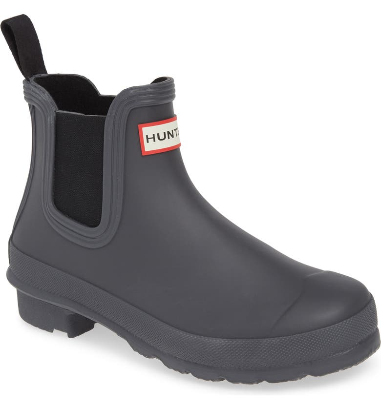HUNTER Original Waterproof Chelsea Rain Boot, Main, color, BLACK/ LUNA