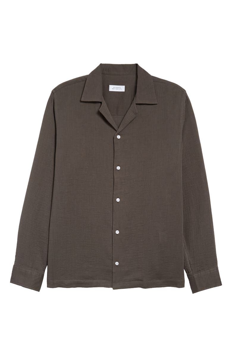 SATURDAYS NYC Marco Gauze Button-Up Shirt, Main, color, STEEL