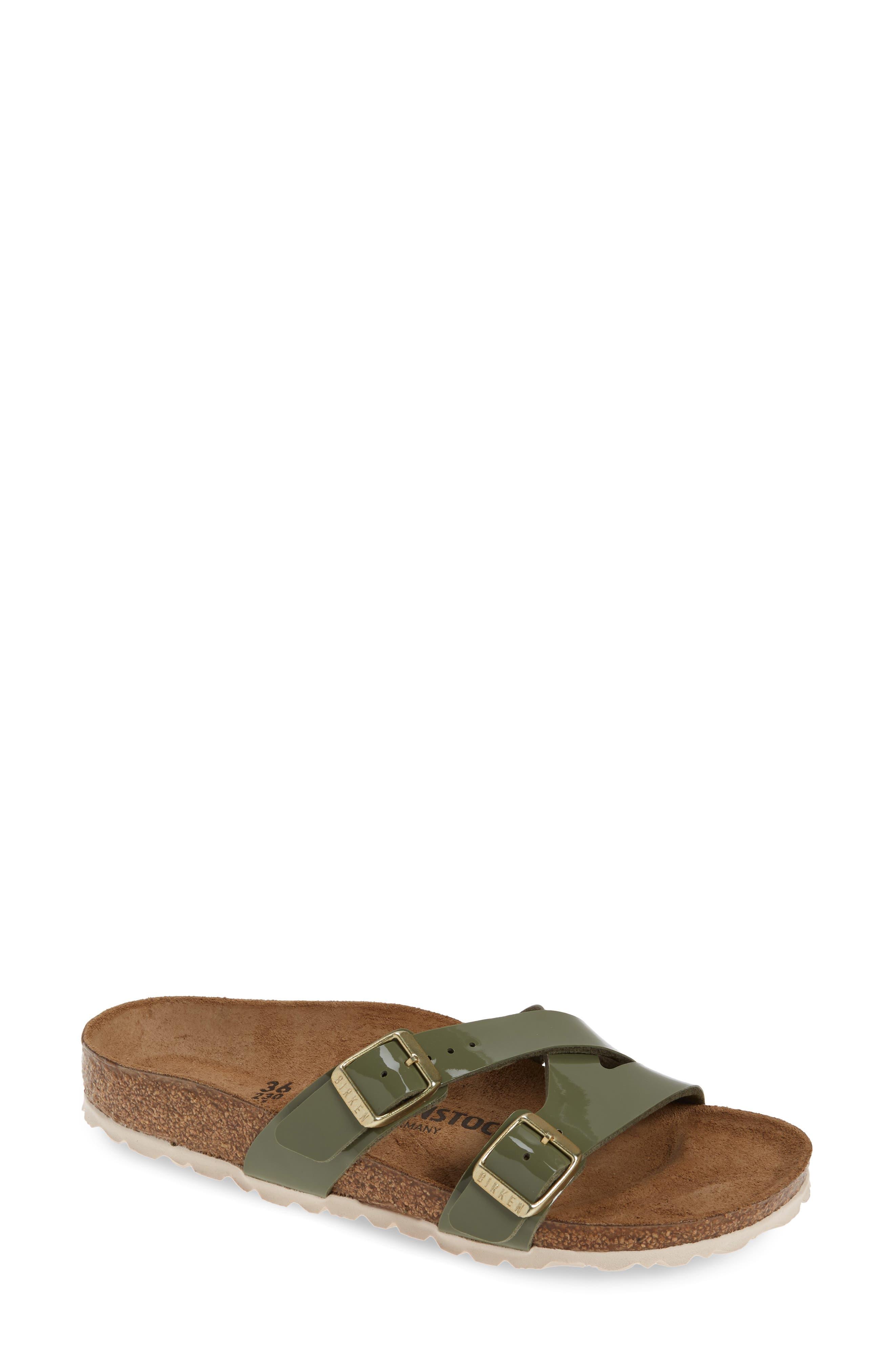Birkenstock Yao Patent Slide Sandal, Green