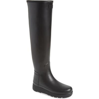 Hunter Refined Creeper Over The Knee Rain Boot, Black