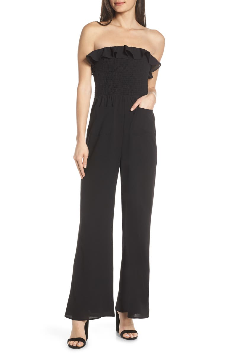 ALI & JAY Sangria Strapless Jumpsuit, Main, color, BLACK