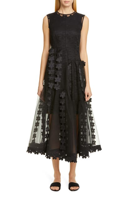 Paskal DOUBLE LAYER CASCADE ORGANZA MIDI DRESS