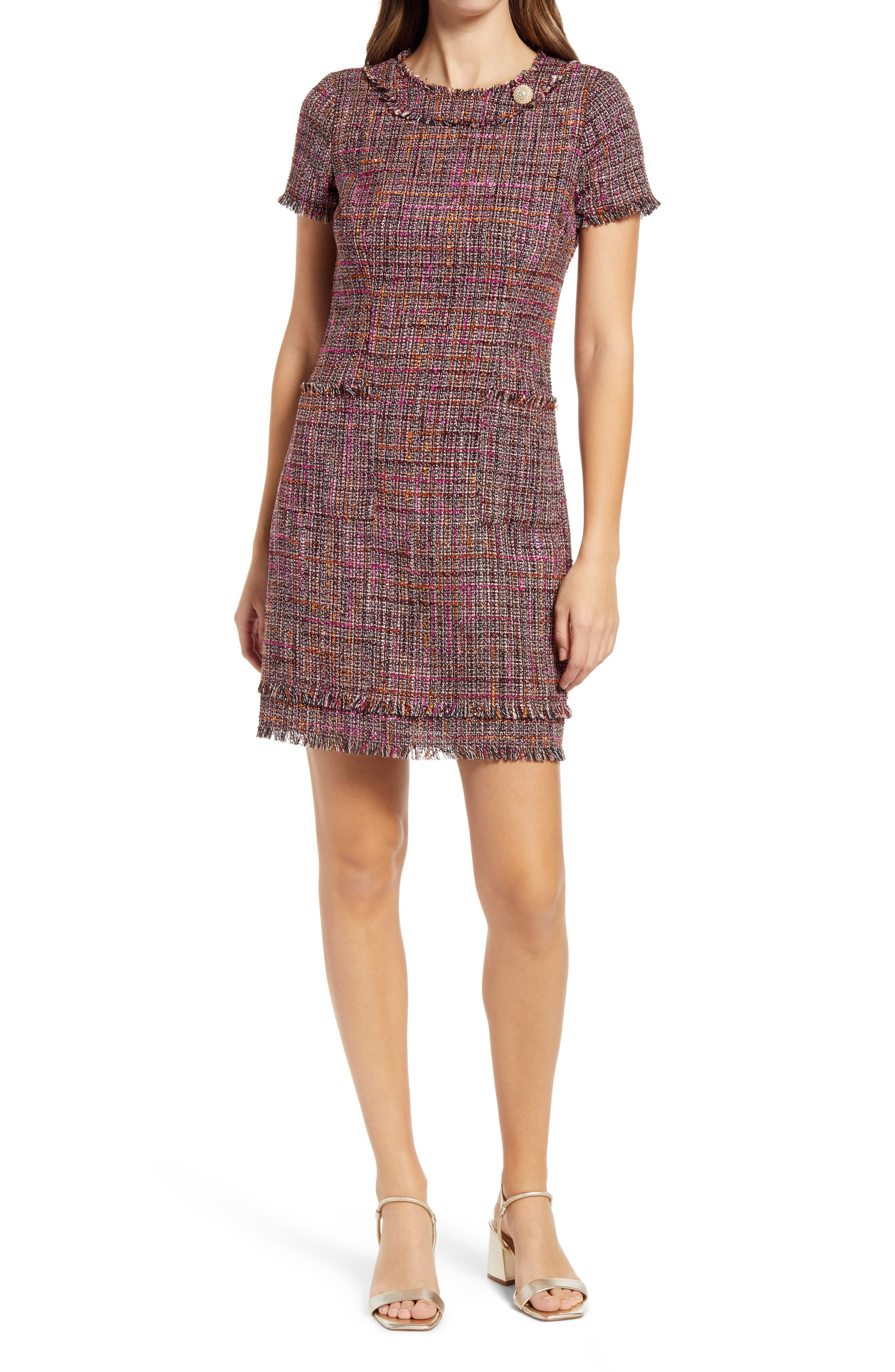Fringe Trim Tweed A-Line Dress
