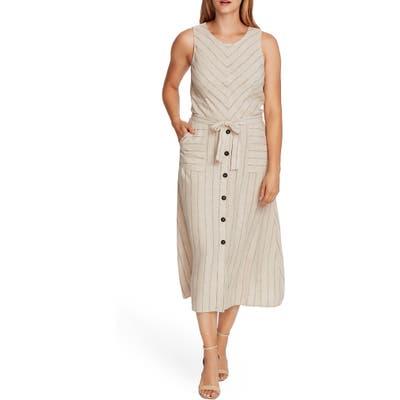 Vince Camuto Natural Stripe Sleeveless Linen Blend A-Line Dress, Beige