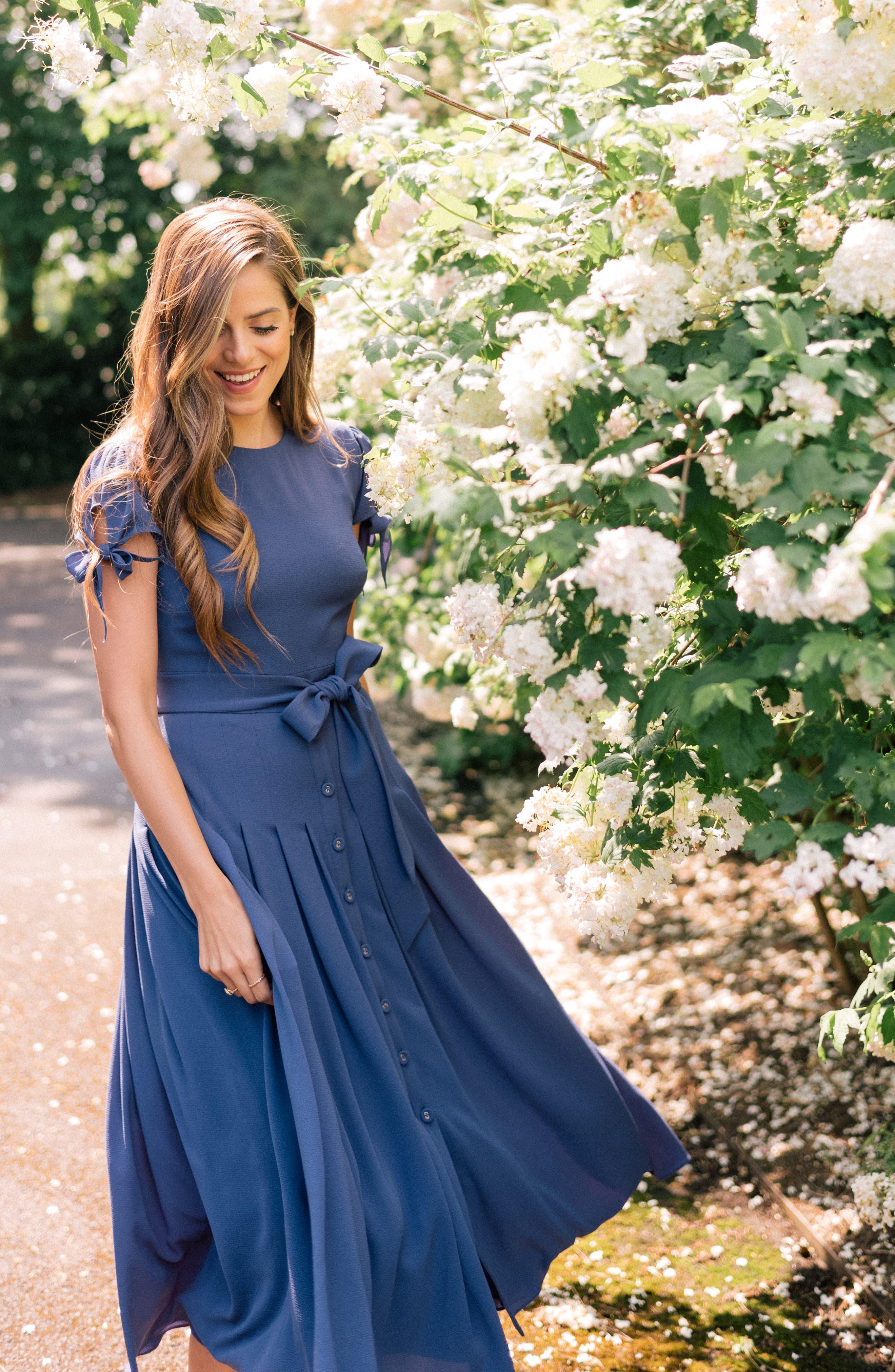 ,                             Bette Pleated Midi Dress,                             Alternate thumbnail 8, color,                             405