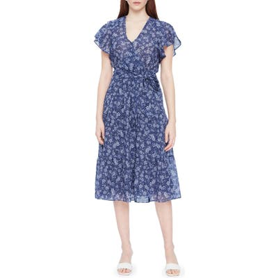 Parker Bessie Floral Faux Wrap Cotton Dress, Blue