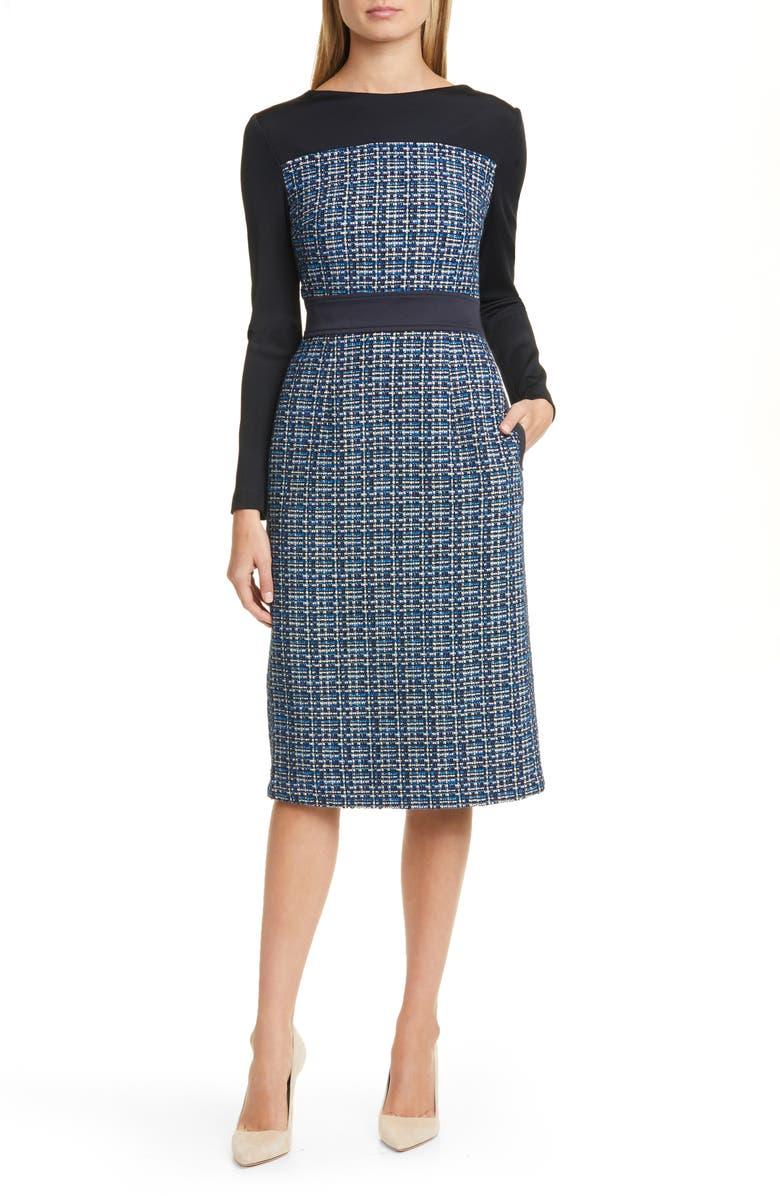 BOSS Danopus Long Sleeve Tweed Sheath Dress, Main, color, 001