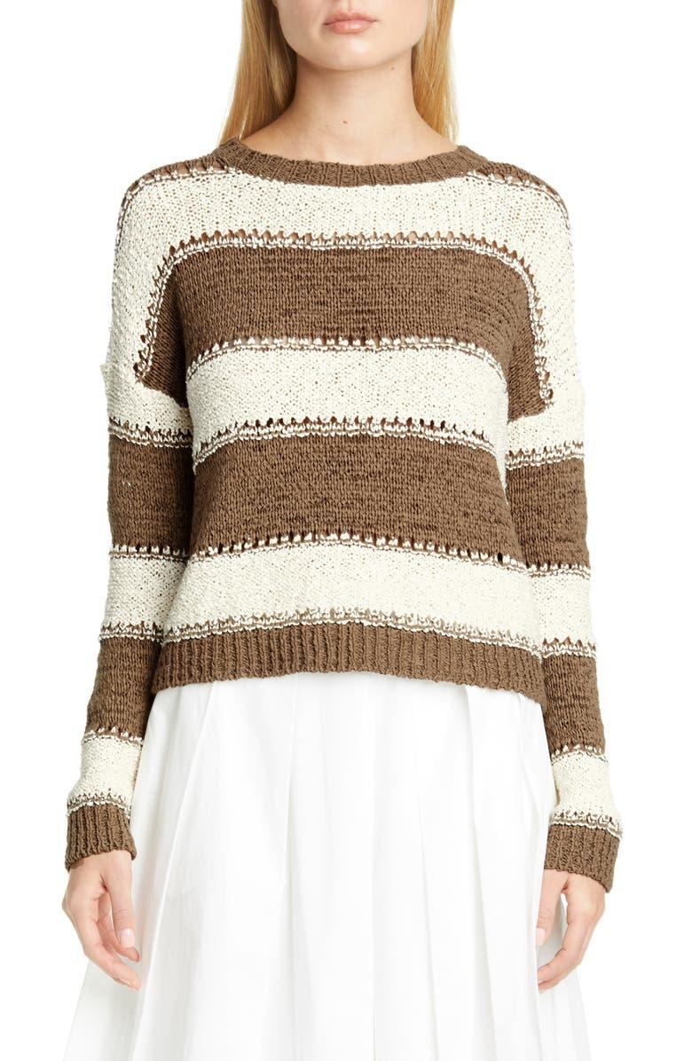FABIANA FILIPPI Pointelle Stripe Sweater, Main, color, 250