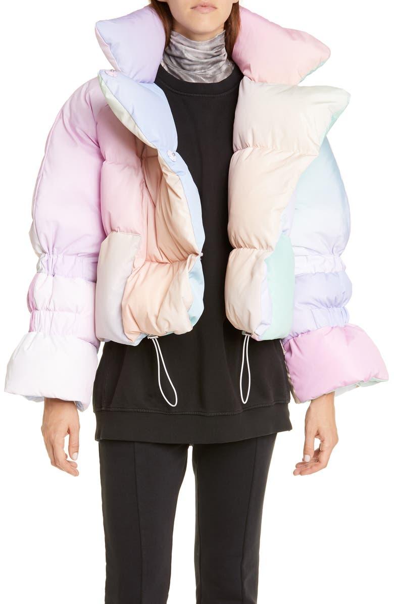 SAKS POTTS Star Rainbow Down Fill Puffer Jacket, Main, color, 650