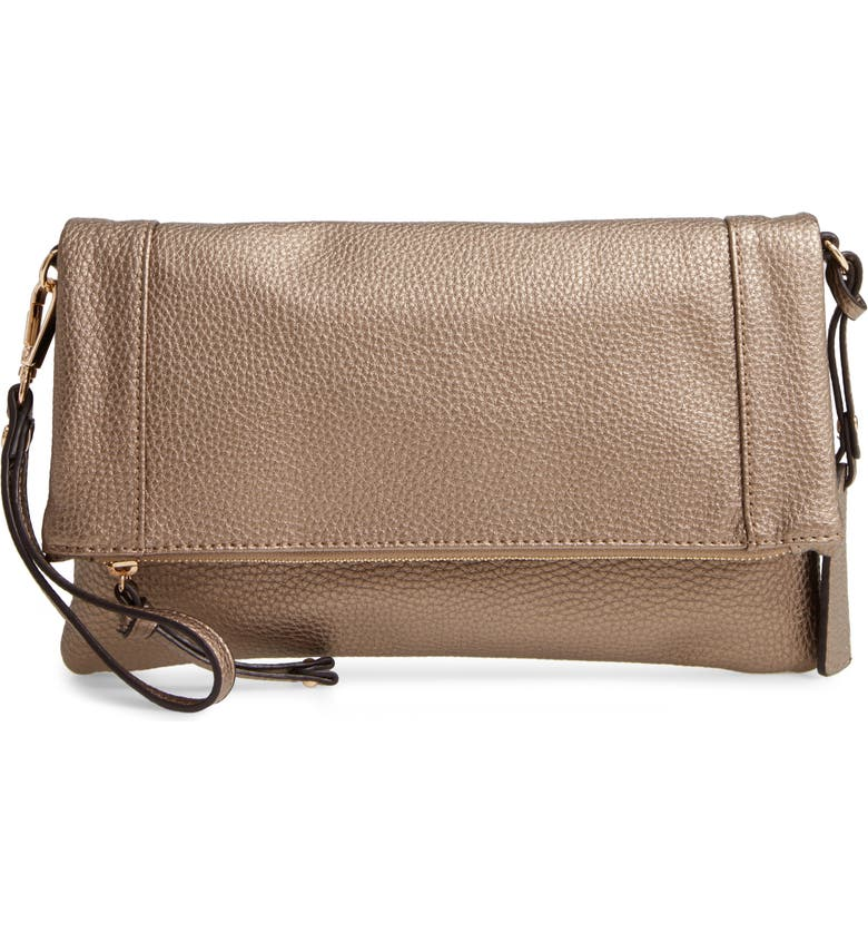 SOLE SOCIETY Marlena Faux Leather Clutch, Main, color, BRONZE