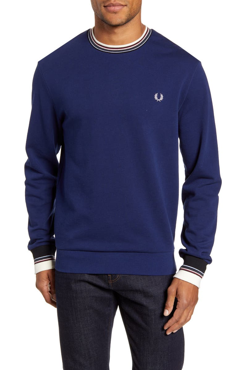 FRED PERRY Tipped Crewneck Sweatshirt, Main, color, 400