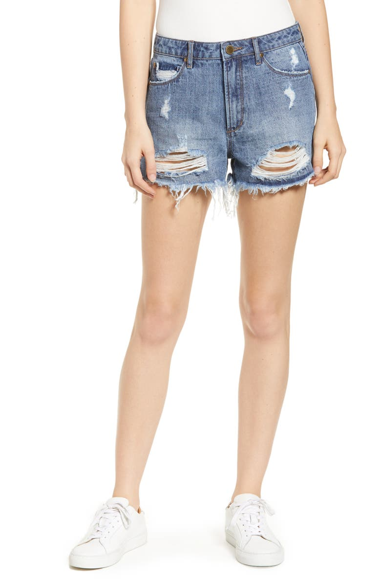 ARTICLES OF SOCIETY Meredith Ripped High Waist Denim Shorts, Main, color, FREEPORT