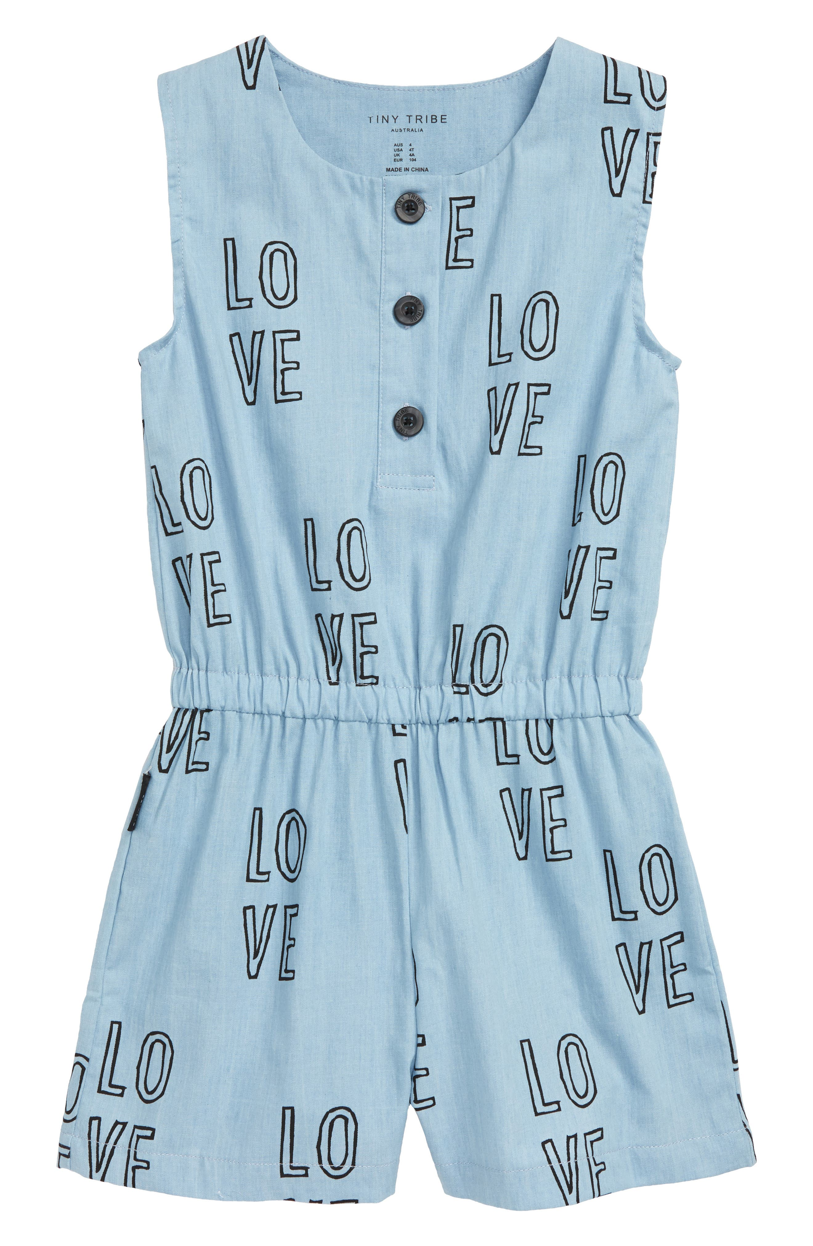 Toddler Girls Tiny Tribe Love Romper Size 4T US  4 AUS  Blue