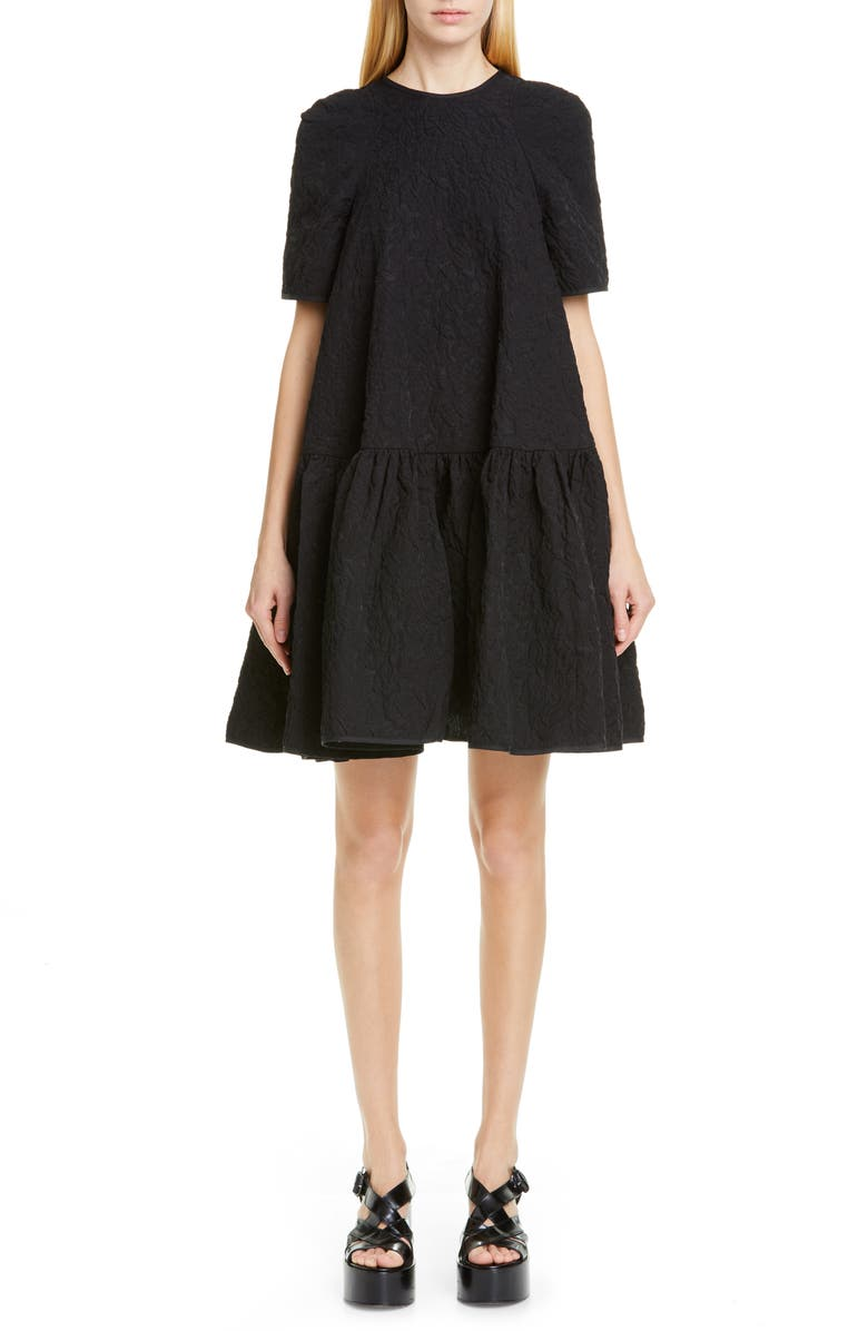 CECILIE BAHNSEN Annabella Floral Matelassé Dress, Main, color, BLACK