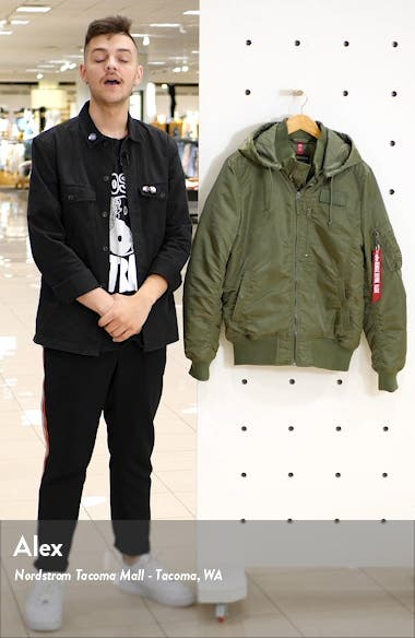 MA-1 Hooded Water Resistant Bomber Jacket, sales video thumbnail