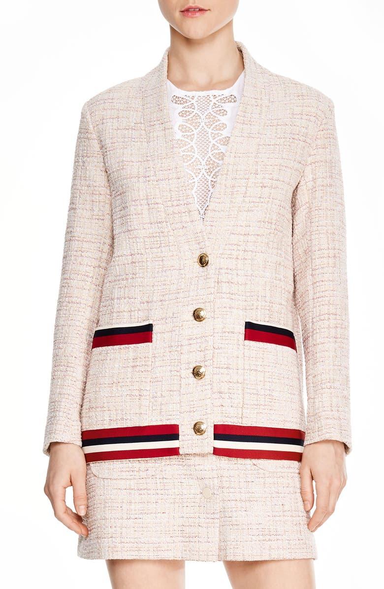 SANDRO Adelaide Tweed Jacket, Main, color, 650