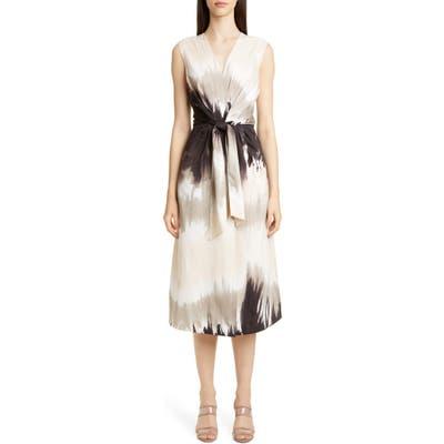 Lafayette 148 New York Orielle Tie Dye Midi Dress, Beige
