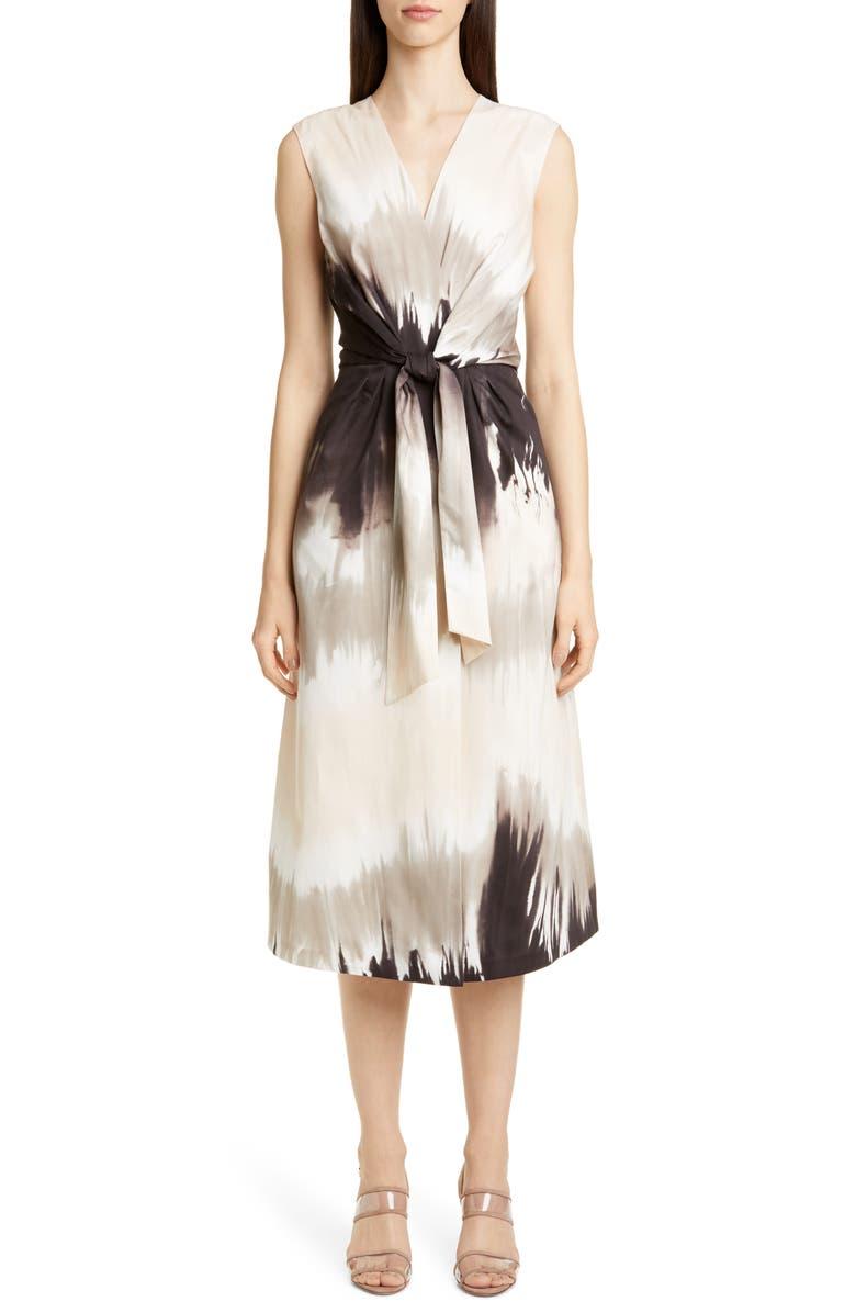 LAFAYETTE 148 NEW YORK Orielle Tie Dye Midi Dress, Main, color, JUTE MULTI