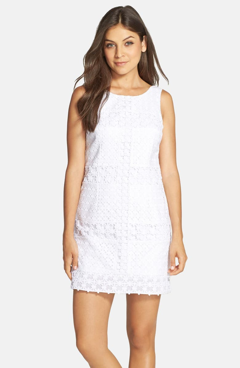 09d2f740a2bbdf Lilly Pulitzer® 'Delia' Windowpane Eyelet Lace Shift Dress | Nordstrom