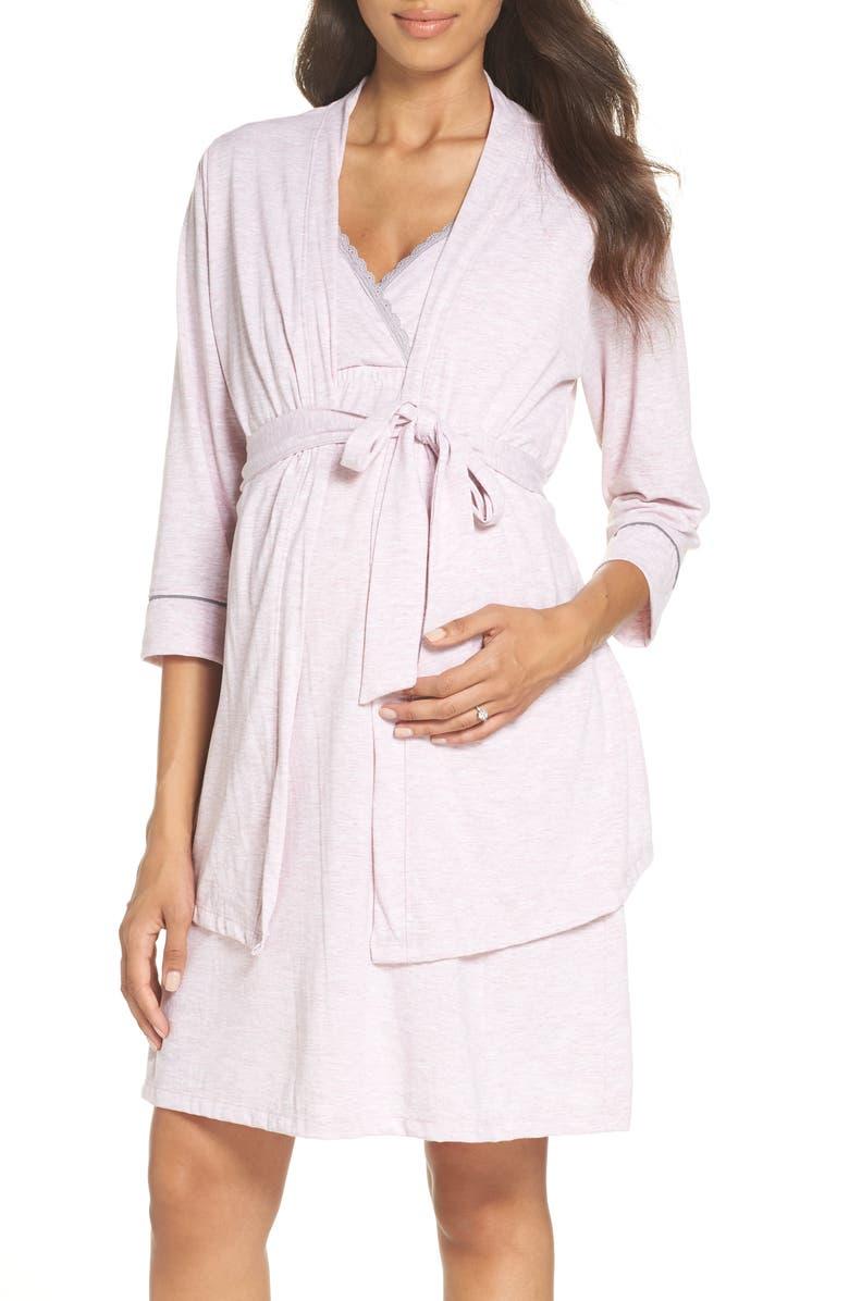 BELABUMBUM Maternity/Nursing Robe & Chemise, Main, color, PINK MARLE