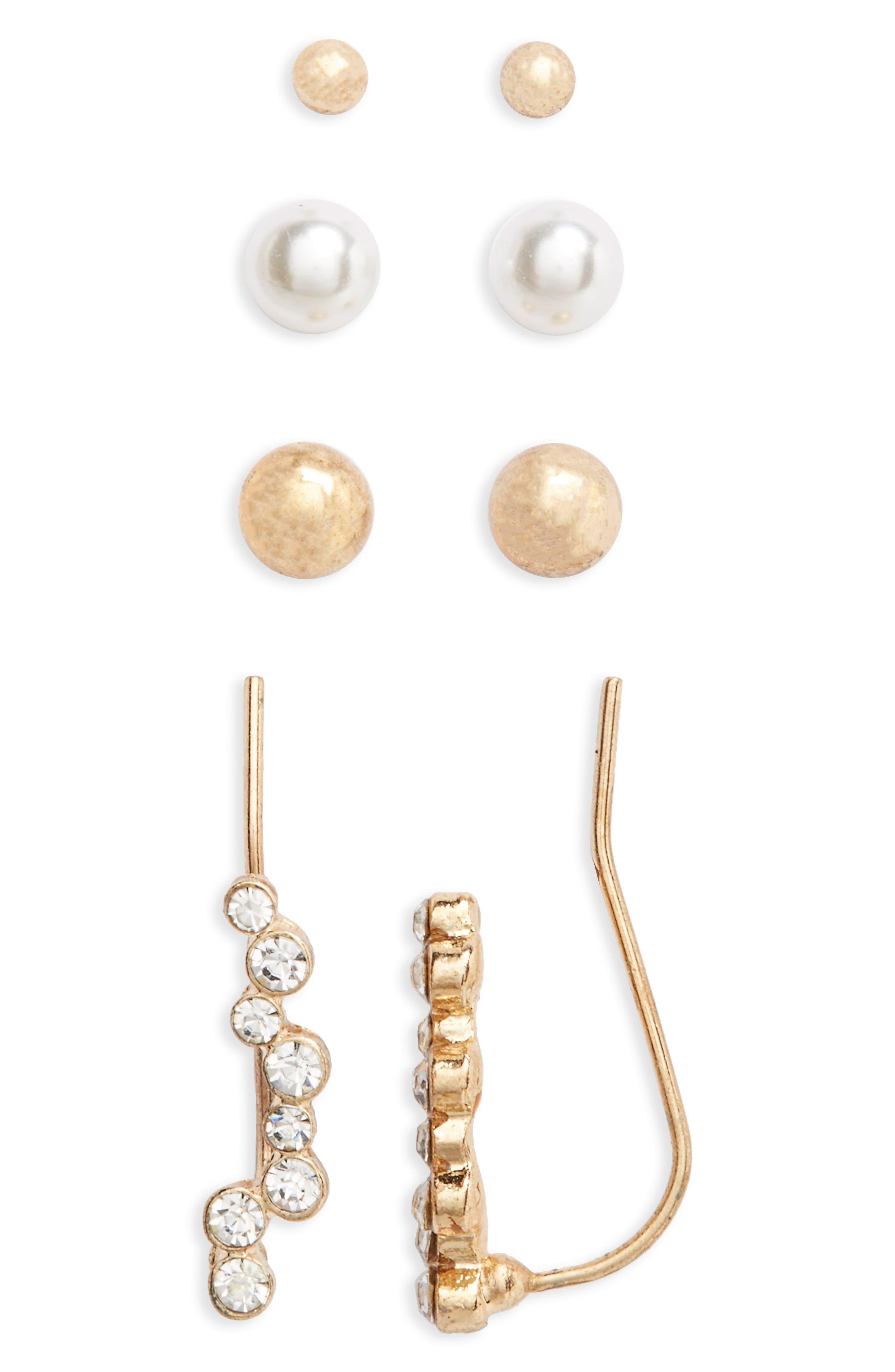 ,                             4-Pack Ear Crawlers & Stud Earrings,                             Main thumbnail 1, color,                             710